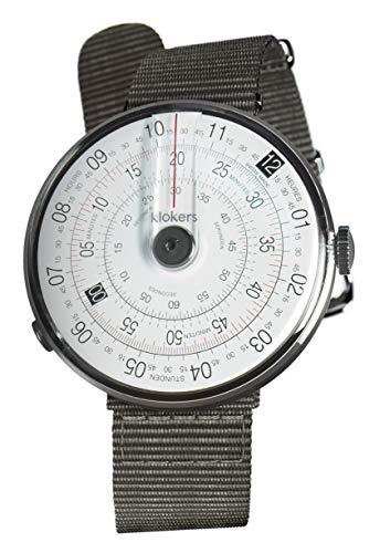 [クロッカーズ]Klokers ダイヤルポイントカラー ブラック 腕時計KLOK-01-D2 と腕時計用ベルト Textile strap KLINK-03 グレー セット【正規輸入品】