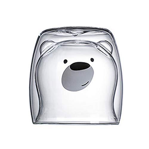 Niedliche Tassen Tier Doppel Glas Saft Espresso Tasse, Panda Milch Tasse Hitzebeständige Glas Neuheit Geschenkbecher Geburtstag Weihnachtsgeschenke