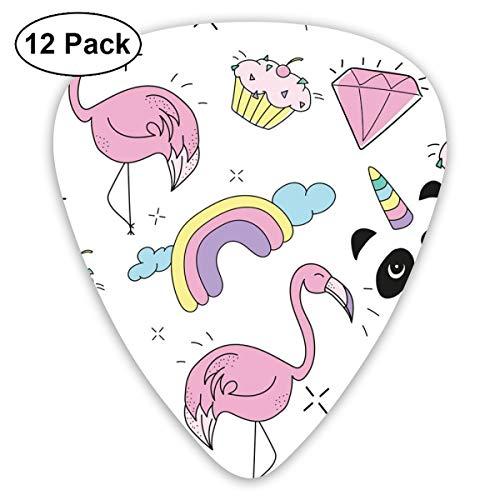 Gitaar Pick Gekleurde Flamingo, Diamant En Beker Cake 12 Stuk Gitaar Paddle Set Gemaakt Van Milieubescherming ABS Materiaal, Geschikt voor Gitaren, Quads, Etc
