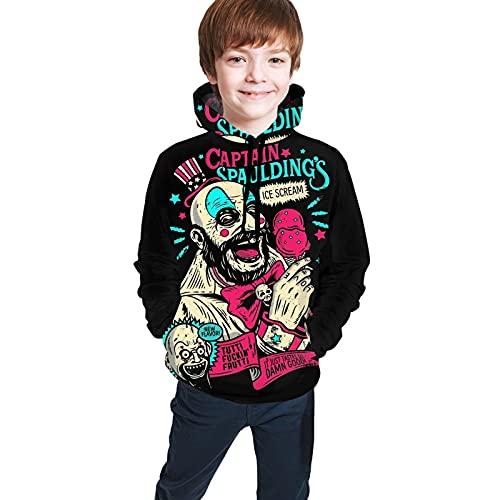 Capitán Spaulding - Sudadera con capucha para adolescentes y niñas, con bolsillo, Negro, 7-8 Años