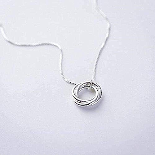 Yiffshunl Necklace Necklace Personality Temperament Necklace Silver Color Jewelry Three Rings Simple Love Clavicle Chain Pendant Necklace Necklace Gift