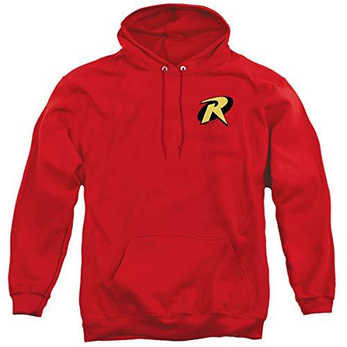 Batman Robin Logo Unisex Adult Pull-Over Hoodie, Red, Medium
