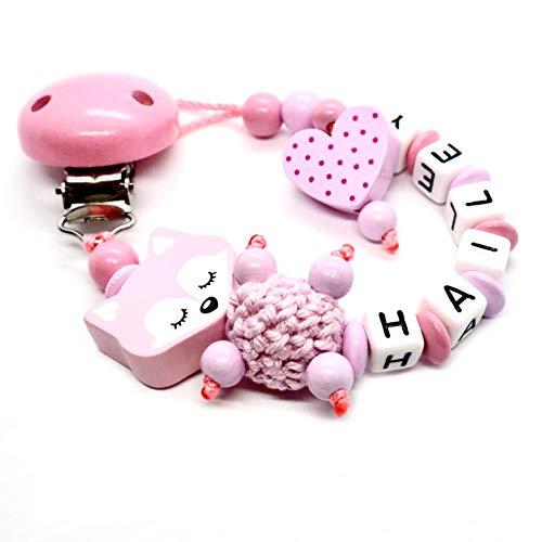 Schnullerkette mit Namen für Junge & Mädchen | VIELE INDIVIDUELLE MODELLE | Personalisierte Nuckelkette mit Wunschnamen (fuchs-schlafend-rosa)