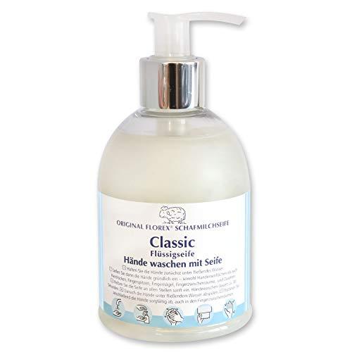 Florex Savon liquide classique pour le lavage des mains avec savon dans un distributeur Lanoline au lait de mouton biologique 250 ml