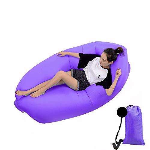 DWHJ Aufblasbare Lehnstuhl, bewegliche aufblasbare Sofa Mittagspause Rollbetten Stuhl, geeignet für Indoor Pool im Innenhof Grass Boden,Lila