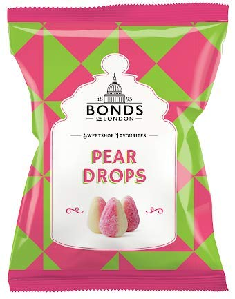 Original Bonds London Pear Drops Bag Sugar Coated Pear Flavored Boiled Sweets A Classic Sweetshop Favorite Imported From The UK England The Best Of British Candy Bannana And Pear Flavour
