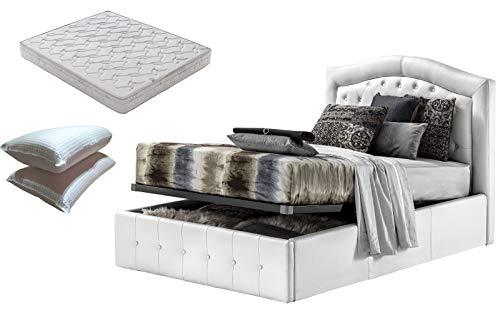 Cama de una plaza y media con caja de almacenamiento blanca diseño + colchón de plaza y media 120 x 190 cm de espuma viscoelástica + par de almohadas de fibra 3D