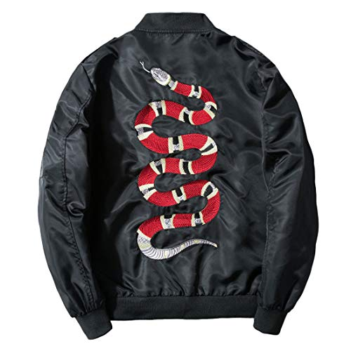 CHARTOU Men's Classic Snake-Embroidery Lightweight Flight Baseball Jacket Windbreaker (X-Large, Black)