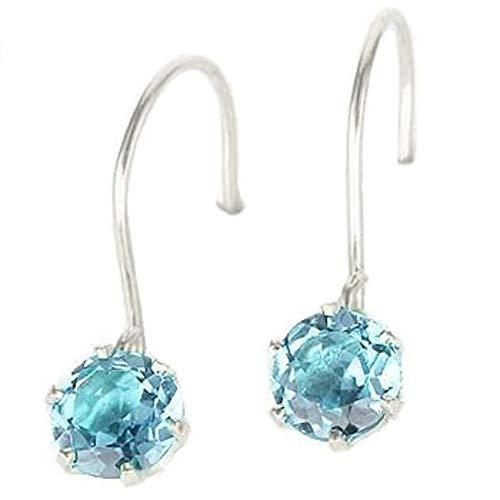 [アトラス]Atrus ピアス レディース pt900 プラチナ ブルートパーズ 揺れる 青い宝石 11月誕生石