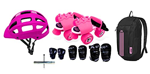 Jaspo Toddlers Baby Kids Junior Pro Adjustable Roller Skates Combo (Up to 5 Years) (Derby Dolls PRO)