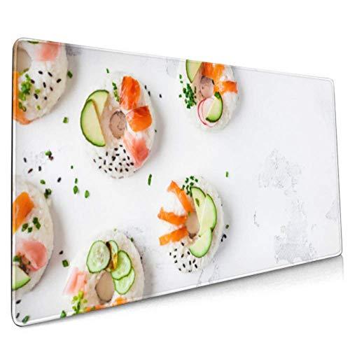 Langes Mousepad (35,5 x 15,8 Zoll) Sushi-Donuts auf weißer Schreibtischunterlage Tastaturmatte, rutschfeste Basis, wasserdicht, für Arbeit und Spiele, Büro und Zuhause
