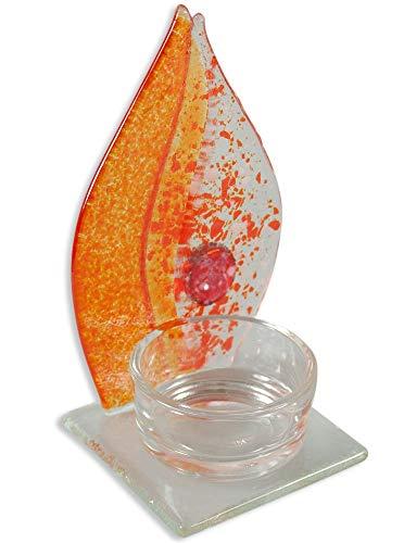Glasflamme für Teelicht orange/rot