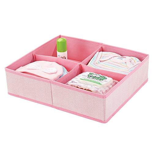 mDesign Cesta organizadora con cuatro compartimentos – Organizador para bebés grande para guardar pañales, toallitas, accesorios, etc. – Ideal organizador de juguetes – rosa