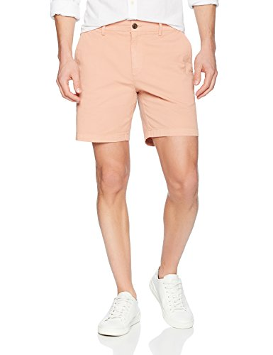 Goodthreads Men's 7' Inseam Flat-Front Stretch Chino Short, Muted Clay, 34