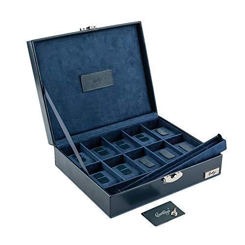 CORDAYS - Porta Orologi con 10 divisori individuali in Pelle Europea di Massima qualità. Colore Blu. CDM-80002