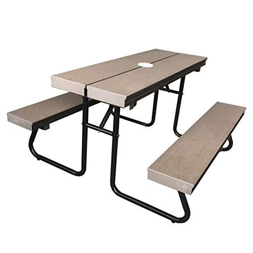 人工木 一体型 ベンチ テーブル 1040(小さいサイズ/子供用) アッシュブラウン JJ PROHOME aks-36193 ガーデンファニチャー キッズ用 アウトドアファニチャー 庭 テラス 屋外 腐らない