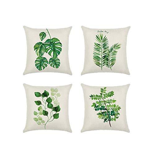 JUNGEN 4 pcs Funda de Almohada Cuadrada Funda de cojín de Hoja Verde Estilo Tropical Funda de cojín de algodón y Lino para Coche Sofá Salon Jardin Textiles del hogar 45x45cm