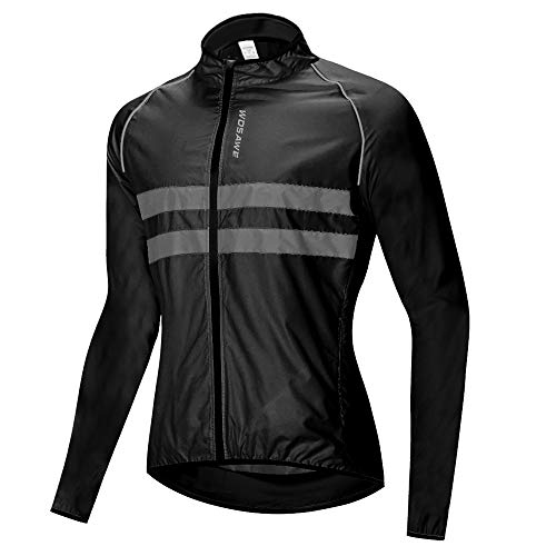 WOSAWE Mens Cycling Jacket Lightweight Waterproof Motorbike Wind Coat High Visibility for Motorcycle, Bicycle, Racing (BL215 Black XXL)
