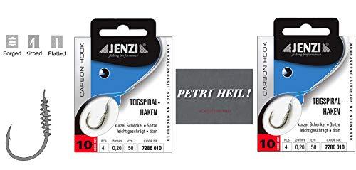 .Jenzi-set: 2 verpakkingen deegspiraalhaken forel-haken, deeghaken gebonden (8 stuks) haakgrootte 10 + gratis Petri hell. Stickers