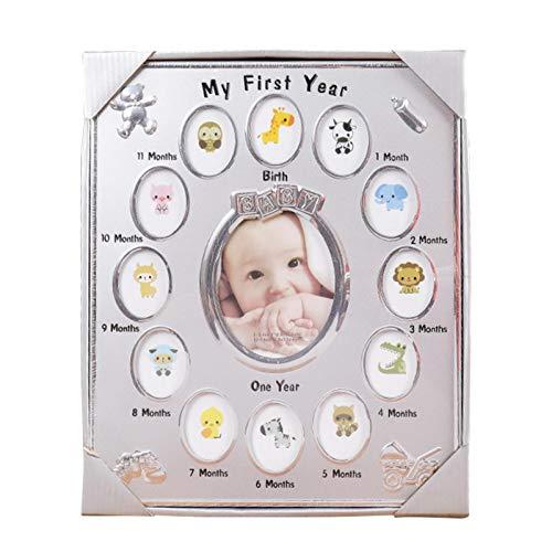 WWWL Marco de fotos de recuerdo para mesita de noche, para el primer año, decoración del hogar, habitación de los niños, regalo de cumpleaños, 13 ranuras para fotos, color plateado