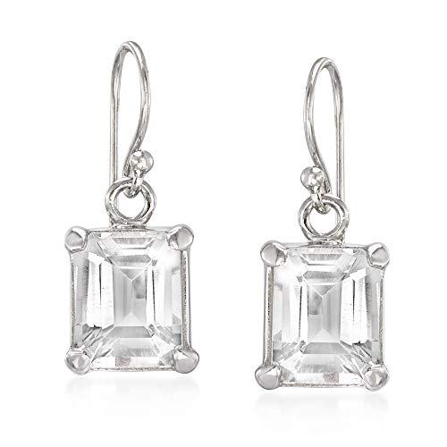 Ross-Simons 6.50 ct. t.w. Emerald-Cut White Topaz Drop Earrings in Sterling Silver