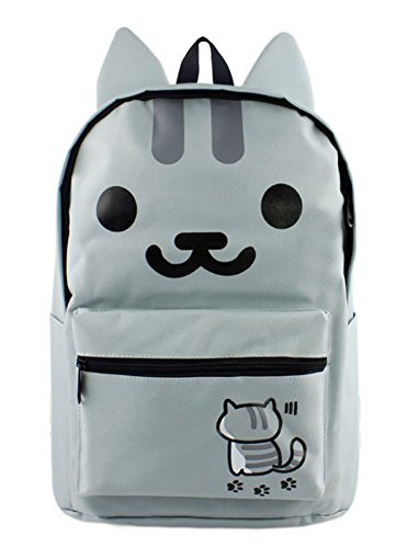 Gumstyle Neko Atsume Cosplay Canvas Backpack with Ears Rucksack Schoolbag Shoulder Bag for Boys and Girls