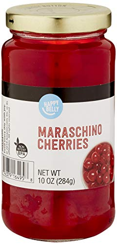 Amazon Brand - Happy Belly Maraschino Cherries in Glass Jar, 10 Ounce