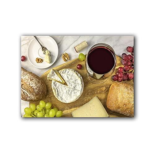 YINGFUN Lienzo de queso, pan y uvas en degustación de vinos, bodegones, impresiones y póster para pared, decoración de cocina, comedor, (color: A, tamaño: 40 x 60 cm, sin marco)