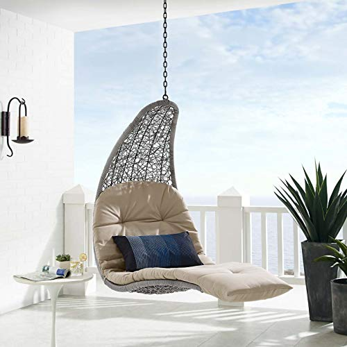 Modway EEI-4589-LGR-BEI Landscape Hanging Chaise Lounge Outdoor Patio Light Gray Beige Swing Chair, Brown