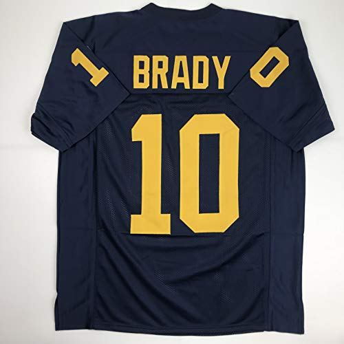 Unsigned Tom Brady Michigan Blue Custom Stitched College Football Jersey Size Men's XL New No Brands/Logos
