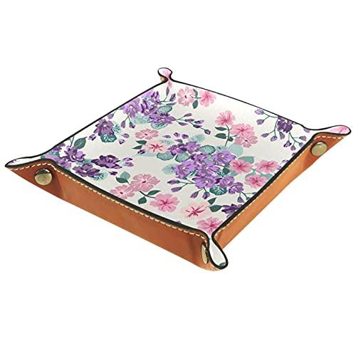 Yumansis Bandeja plegable de cuero de la PU del balanceo de los dados para la joyería del reloj titular de la caja de almacenamiento de la joyería púrpura y rosa flor 16x1