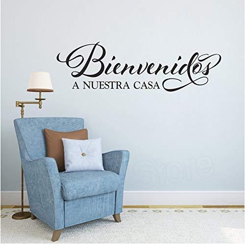 Wuyyii Welkom bij onze Home Vinyl Muursticker Spaanse Citaat Voordeur Ingang Decoratie Decal Woonkamer Home Decor Stickers 57X18Cm