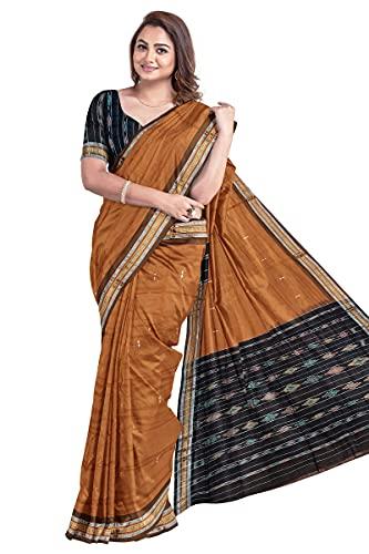 Odisha Handloom Handmade Pure Cotton Saree Khandua Natural Cotton Ikkat sambalpuri Saree For Women/Ethnic Wear/Traditonal Saree/Handloom Saree Without Blouse Piece