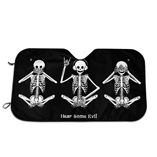 Funny Skull Quotes Hear Some Evil Design Auto Front Windshield Sun Shade Car Window Foldable Sunshade Cover UV Rays Sun Visor Protector and Keeps Your Vehicle Cool
