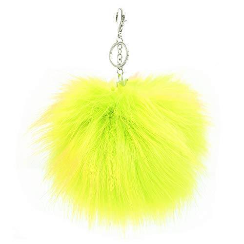 XXL Kunst Fell Bommel Neon Gelb Puschel Taschen- Schlüssel Anhänger XB30