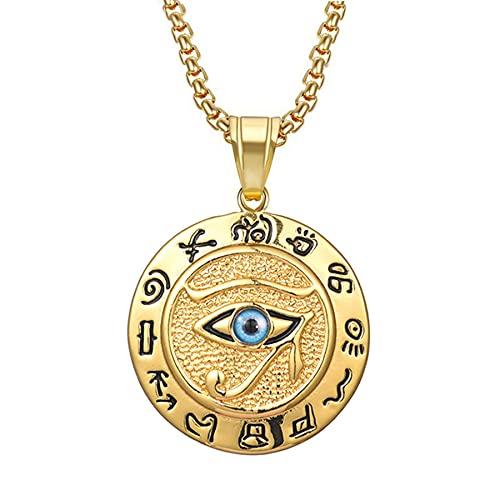 SWAOOS Collares con Colgante de Ojo de Horus de Egipto para Mujeres y Hombres, Collar Redondo de Acero Inoxidable de Color Dorado, Regalo de joyería egipcia