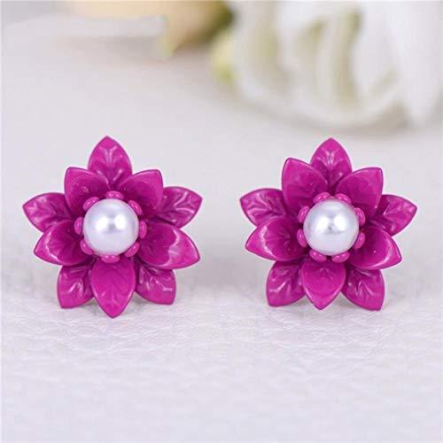 FUKAI Pendientes de perlas de imitación hipoalergénicos para mujer (color: fucsia)