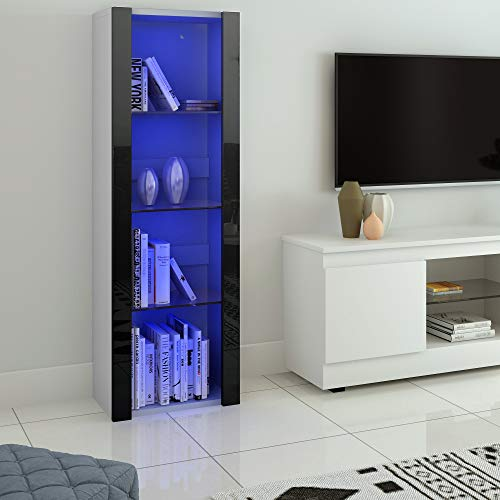LED Tall Display Cabinet with Glass Shelf,High Gloss Fronts Living Room Cupboard Display Unit Cabinet Sideboard Free Standing Bookcase Storage(White&Black)