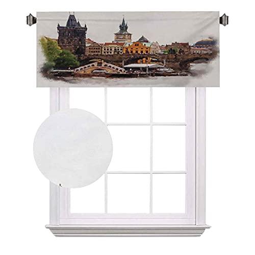 Scenery - Cenefas de bolsillo para barra opaca con casas, acuarelas de río, impresión artística, impermeable y lavable, para ventana pequeña, 100 x 45,7 cm, multicolor