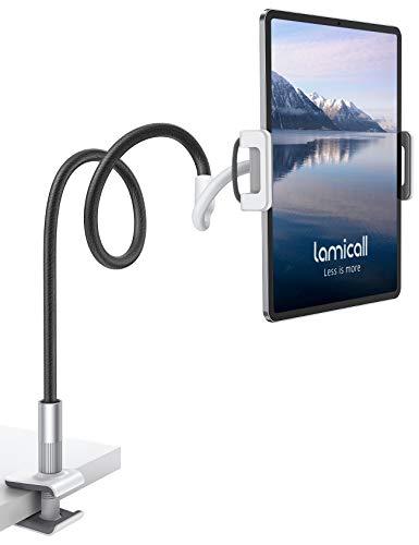 Lamicall Supporto Tablet, Collo Oca Supporto Regolabile - Universale Stand per 2020 iPad PRO 10.5, iPro 9.7, iPad Air Mini 2 3 4, iPhone, Switch, Samsung Tab, Altri Tablets - Nero