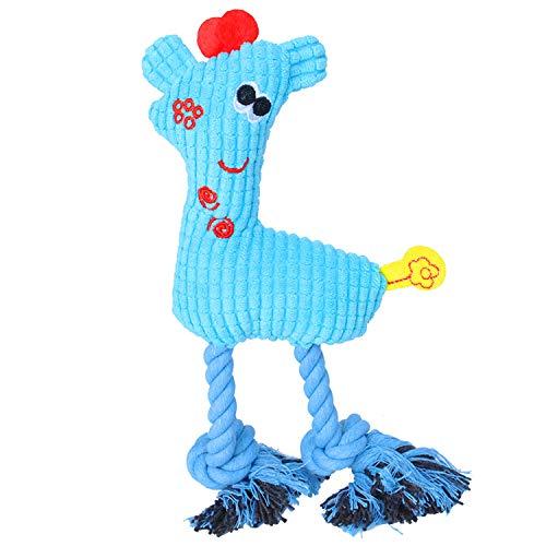 My Woofie Hundespielzeug, quietschendes Plüschspielzeug zum Kauen für Welpen und kleine Hunde, REH blau
