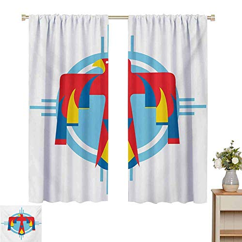 N / A curtains for living room Southwestern,Native American Mysterious Symbol of Thunderbird Abstract Artistic Tribal Icon,Multicolor,for Room Darkening Panels for Living Room, Bedroom