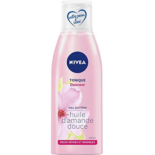 Nivea - Tónico suave para el rostro enriquecido con aceite de almendra y agua purificada, limpiador para pieles secas y sensibles, cuidado facial para mujer, 200 ml