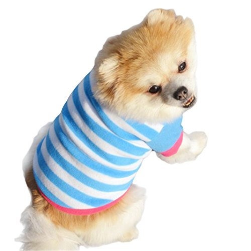 Mikey Store Pet Dog Clothes Soft Thickening Warm Stripe Polar Fleece Winter Clothes (Blue, S)
