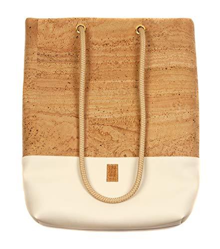 HENTIES Lerke Designer Rucksackhandtasche – Damen Handtasche aus Kork auch als Rucksack oder Umhängetasche tragbar – Handmade in Deutschland und 100% Vegan (Creme)