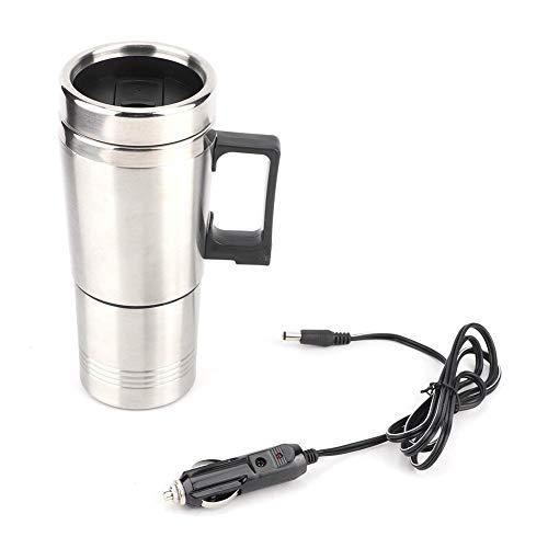 KIMISS 12 V Silber Auto Wasserkocher, Elektrischer Wasserkocher Edelstahl 12v KFZ Wasserkessel mit Zigarettenanzünder Heizbecher 350ML + 150ML…