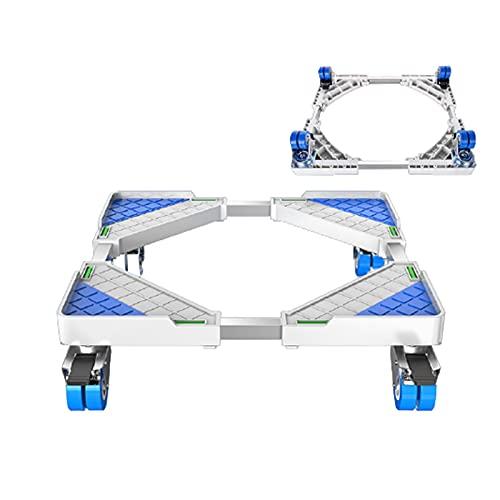 SUNMM Máquina de Lavadora Soporte Multi-Función Trolley Pies Movible Ajustable Telescópico Nevera Soporte Rueda para Secadora Refrigerador (Color : 4 Wheels)