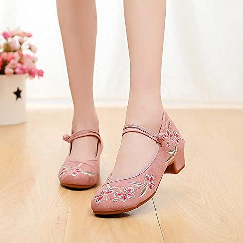 SGADSH Flores Bordadas Mujeres Denim Studded Heel Shoes Spetep Hebillas Lienzo Bombas para Damas Old Beijing Shoes Zapatos Casuales para Mujeres (Color : Model 2 Pink, Size : 37 EU)