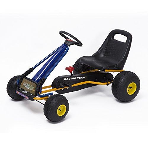 HOMCOM Go-Kart con Pedales y Ruedas Coches Niños a Pedales
