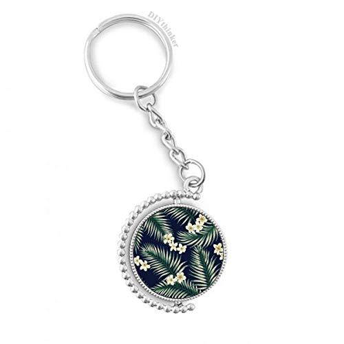 DIYthinker Tropische weiße Zeichnung Kunst Pflanze Drehbare Schlüsselanhänger Ringe 1.2 Zoll x 3.5 Zoll Mehrfarbig